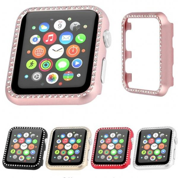 5 Color Diamond watch case For Apple watch band 42mm/38mm IWATCH 3/2/1 Aluminum Alloy Frame Crystal Protective Case Cover