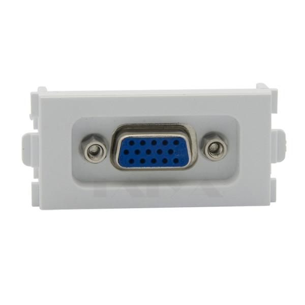15 Pin Solderless VGA Computer Sockets VGA Wall Plates 86 Panel 3 + 4 White VGA Module
