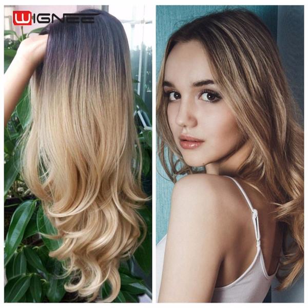 barato Las pelucas sintéticas onduladas largas encantadoras del pelo de la moda de la peluca rizada Ombre se broncean a las pelucas rubias del color para las mujeres FZP54