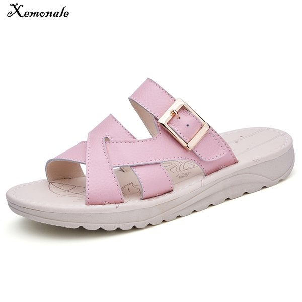 Xemonale Cross Strap Leather Gladiator Sandals Shoes Women Rubber Thick Sole Beach Sandals Shoes Ladies Slip on Casual Shoes