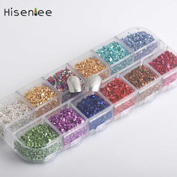 High quality small stone 12 colors 1 box 3D nail art tin stone broken glass nail glitter decorative rhinestone art set