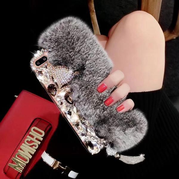 Bling Püskül Elmas Tilki Kafası Tavşan Kürk Arka Kapak Kılıf Peluş Rhinestone Telefon Kabuk için iPhone XS Max XR 6 s 7 8 Samsung