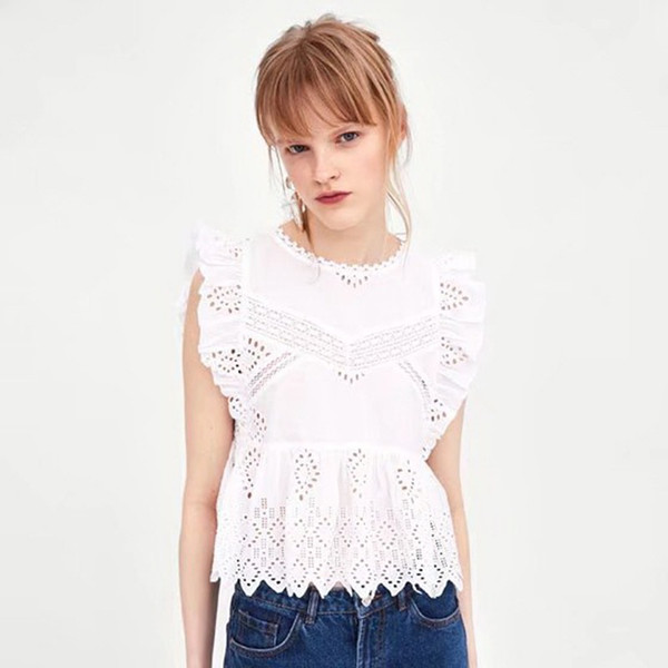5ee90c69d4c2e Women Elegant Sleeveless Summer Blouses Sexy Hollow Out White Lace Blouse  Shirt Female Casual Long Sleeve Tops Blusa