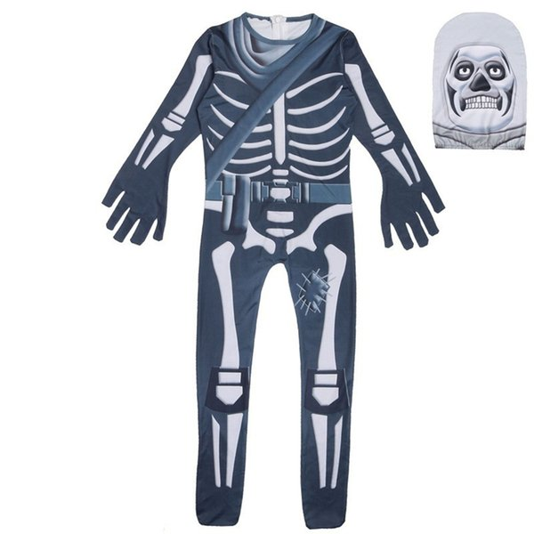 cosplay skull trooper Costume Halloween Superman Costume For Kids Ghost face skeleton Carnaval Toddler Jumpsuits Body suit/mask boy girls