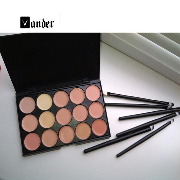 Juego de maquillaje al por mayor-nuevo 15 colores Contour Face Cream Correaler Palette + 6Pcs Black Eye Lip Make Up Pinceles herramientas de cosméticos