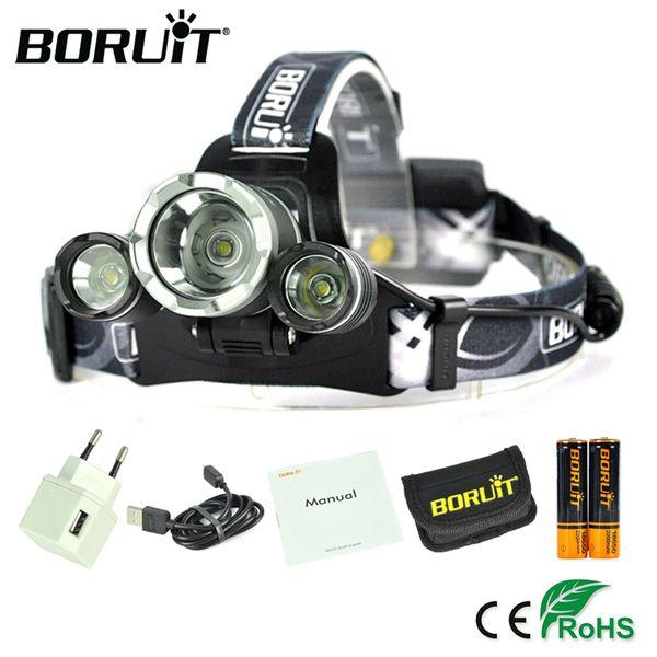 BORUiT RJ-3000plus XML-T6 LED Headlight 4-Mode USB Rechargeable Headlamp Camping Lanterns 18650 Battery Head Lamp for Hunting