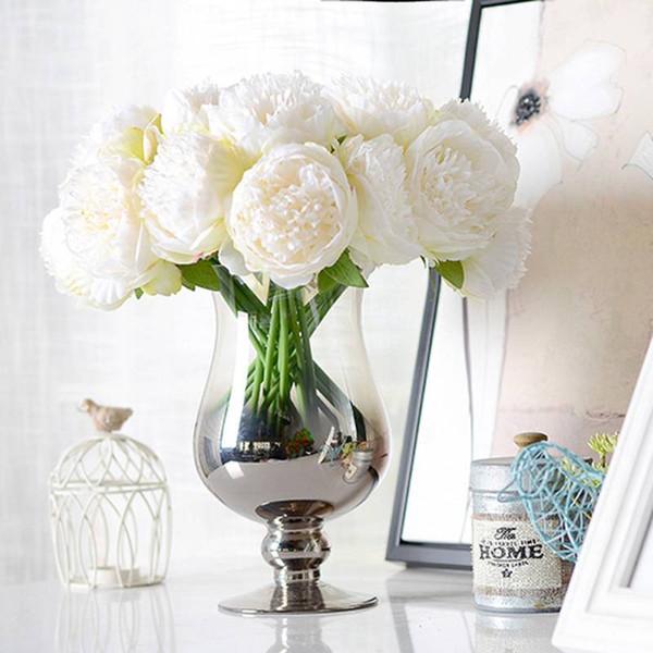 5 색 인공 가짜 모란 실크 꽃 신부 꽃다발 꽃꽂이 홈 웨딩 파티 축제 테이블 정원 장식