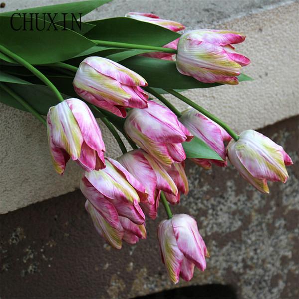 6 unids / lote nueva simulación PU tulipanes toque real home hotel decoración de la mesa flores falsas boda ramos foto escena modelado