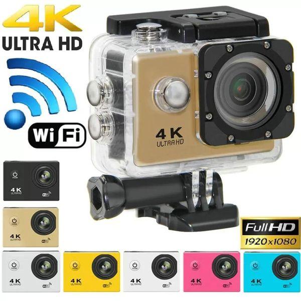 "top popular 4K Ultra Hd Action camera F60 4K 30fps 1080P sport WiFi 2.0"" 170D Helmet Cam underwater waterproof Sport Camera With Retail Package JBD-M7 2021"