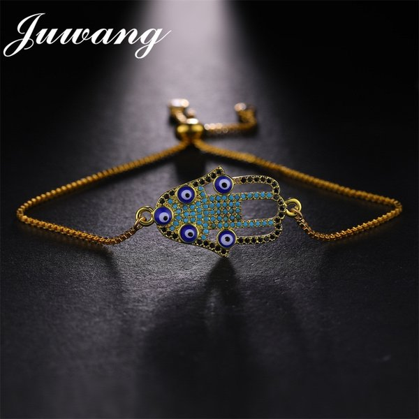 JUWANG Brand Big Blue Evil Eye Pendant Charm Bracelet For Women Men Micro Pave CZ Stones Turkish Bracelet Fashion Jewelry Gift