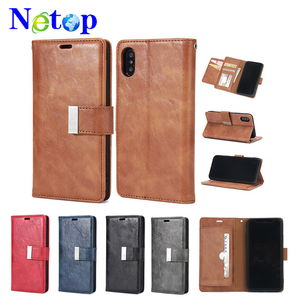 Netop Wallet type Multicolored retro crack mobile phone shell For Iphone X case caso del iphone luxury phone case