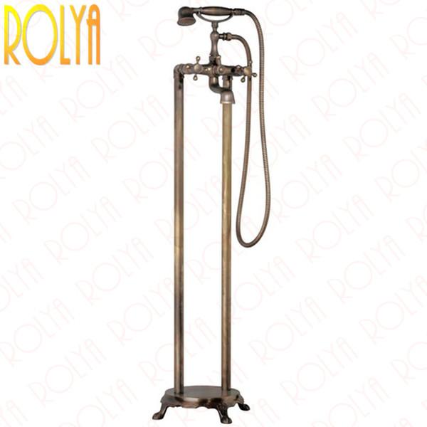 Rolya Vintage Free Standing Bath Shower Faucets Antique Brass Floor Mounted Bathtub Filler Taps