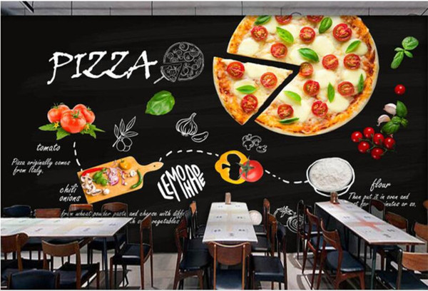 top popular Home Decoration Custom wallpaper mural black hand painted Italian pizza shop western restaurant background wall photo wallpaper 2021