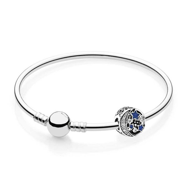 PASINIYA 925 Sterling silver Vintage Night Sky Bangle Gift Set Clear CZ fit DIY Original charm Bracelets jewelry A set of prices