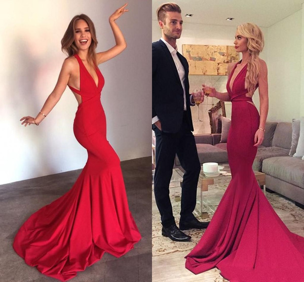 2019 Sexy Red Mermaid Prom Dress Deep V Neck Backless Criss Cross Straps Sweep Train Long Evening Party Gowns Cheap