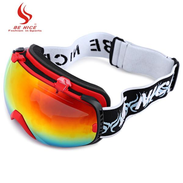 Be Nice 2084 Unisex Spherical Anti-fog Dual Lens Snowboard Skiing Goggle Eyewear PTU Frame Water Resistant Good Visual Effect