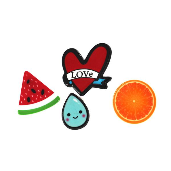 4pcs / lot mode belle bande dessinée fruits broches pour filles collier mignon sourire visage fleur broche épingle enfants cadeau de no