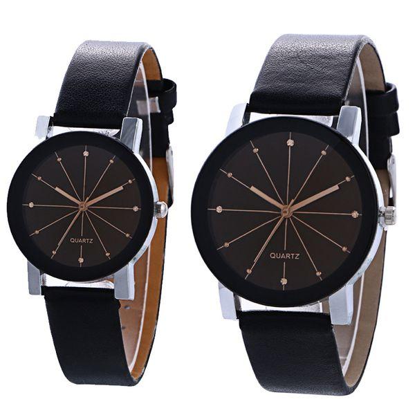 Nouvelle Horloge Speckle Montres Bracelets Couple Marque De Mode Robe Dames Montres En Cuir Simple Montre-Bracelet Analog Student Montre À Quartz