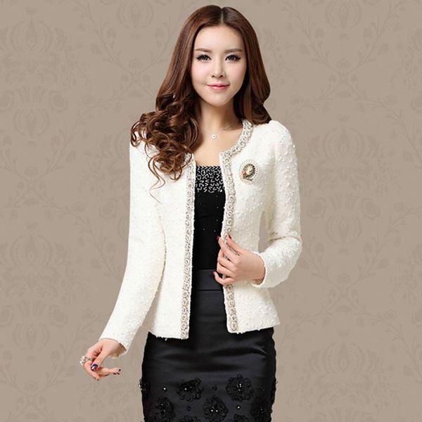 New 2018 Autumn Spring Coat Short Design Women Outerwear Elegant Beaded Diamond Slim Long Sleeve Plus Size Small Jacket XXXL