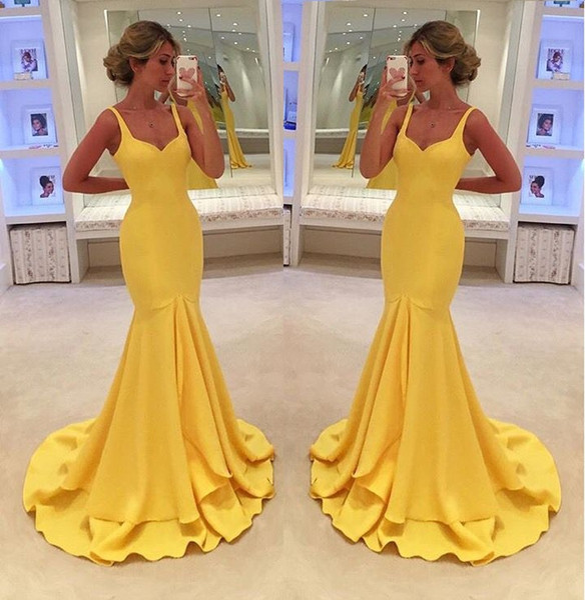 Colher amarelo Satin Pageant Vestidos de Noite das Mulheres Personalizado Sereia Vestido De Noiva Especial Ocasião Prom Vestido de Festa Da Dama De Honra 17LF465