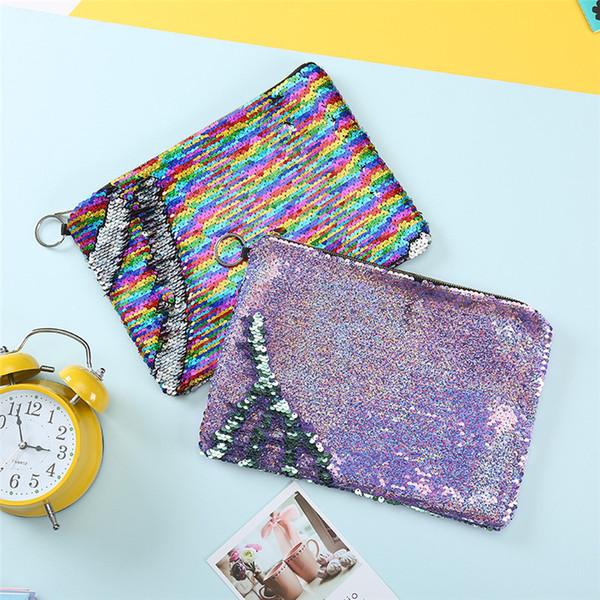 Sirène paillettes porte-monnaie laser argent sac petites femmes portefeuille mode dame mini sac à main designer sacs