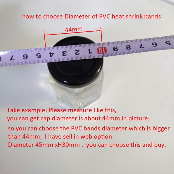 Empaquetado 400 unids / lote 17 tamaños de Pvc / pet Heat Shrink Bands para tapas de botellas de aceite de vidrio, tapa del tarro Full Sealed, impermeable sellado boca / tapa de la película,