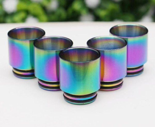 Rainbow Stainless Steel Metal 510 810 Thread Drip Tips Wide Bore Vape Mouthpiece For TFV8 TFV12 Baby Prince Tank Atomizer