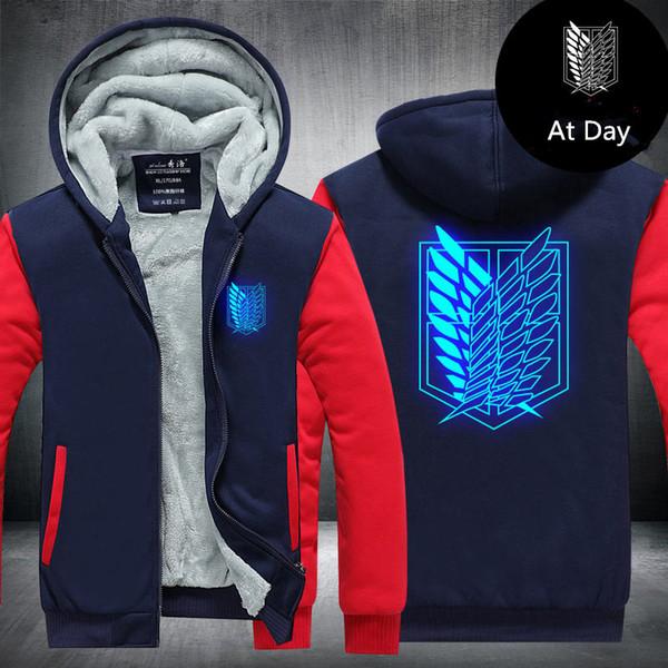 Men Velvet Thicken Hooded Sweatshirt Anime Attack on Titan Luminous Zipper Hoodies Winter Cardigan Jacket Coat Pullover USA EU Size Plus