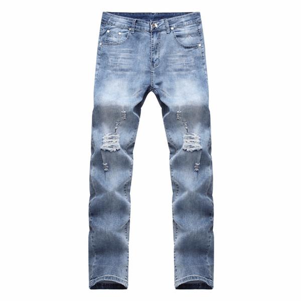 HOT 2018 Fashion Casual Broken Ripped hole Knife Cut Knee washing hip hop Destruction Stretch Slim Jeans Men's Pants