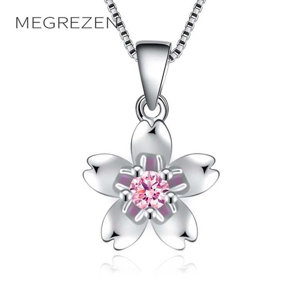 Women Flower Necklaces Pendants Cute Silver Chain Pendant With Austrian Crystal Purple Zircon Necklace Birthday Gift E45-5