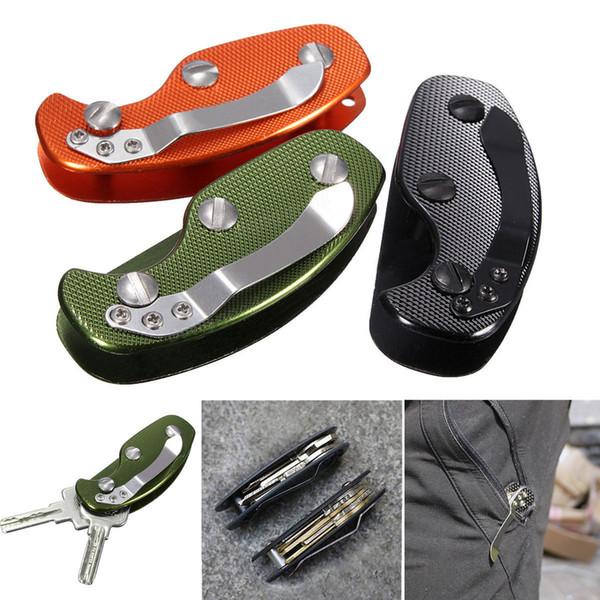 Fibra de carbono de aluminio Organizador del clip de la llave Titular de la carpeta Llavero Bolsillo flexible Mult Tool Negro Naranja Verde A270