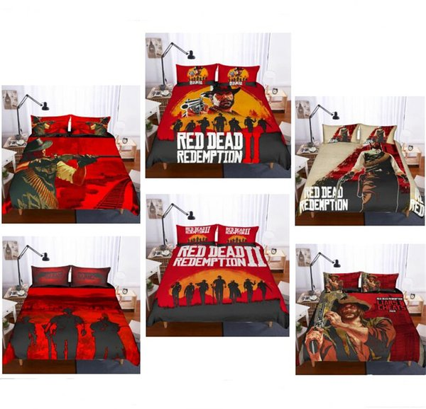 Hot Game Red Dead Redemption 2 Impressão Conjunto de Cama 2 PC 3 PC Capa de Edredão Set Of Quilt Capa Fronha Gêmeo Completa Rainha King Size