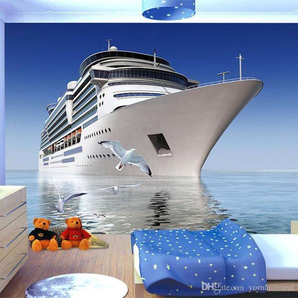 Benutzerdefinierte Foto 3D Wallpaper Blue Sky Cruise Seagull Hintergrund Wohnzimmer Schlafzimmer TV Hintergrund Dekorative Wandbild Tapete für Wand