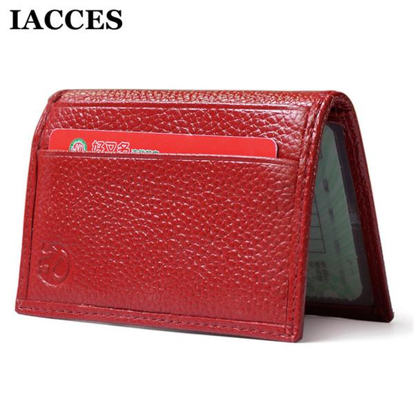 IACCES Marke Vintage Leder Reisepass Geldscheinklammern Brieftaschen Karte Pack Tasche Bank Tasche Geldtasche Dünne Brieftasche