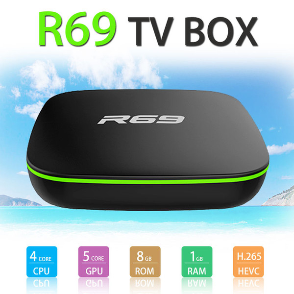 R69 android tv box quad core 1gb 8gb android 7 1 h3 chip mart team media player built in wifi tv box