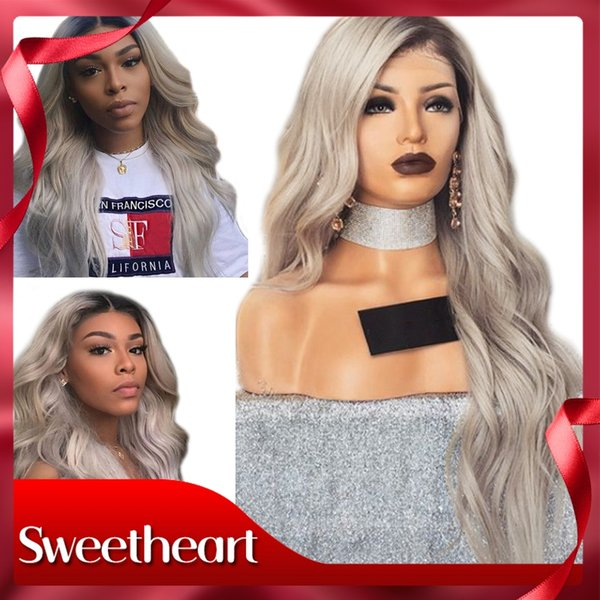 Free Shipping 180% Density Long Body Wave 26 Inches Gray Wig Synthetic Lace Front Wig with Baby Hair Ombre Wigs for Black Women