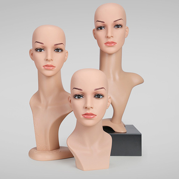 New PVC Plastic Simulation Female Mannequin Heads for Clothing Hat Jewelry Wig Hair Display Model Head Props