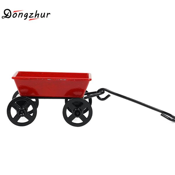 Dongzhur carro de tracción coche de hierro forjado rojo carro miniaturas 1:12 accesorios casa de muñecas dormitorio decoración de la habitación