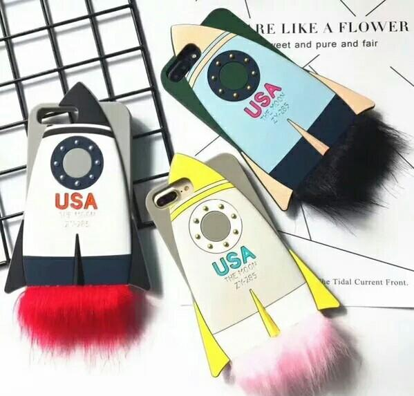 Cute fashion 3D USA. The Moon fox hairy arrow case cover skin for iPhone 6 6Plus iPhone 7 7Plus iPhone 8 8 Plus