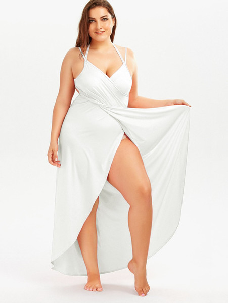 2c1ffc3ccf0 Beach Plus Size Cover Up Dress Women Suspender Solid Long Dresses  Sleeveless Backless Summer Holiday Bigger Size Dressing Clothing Candy