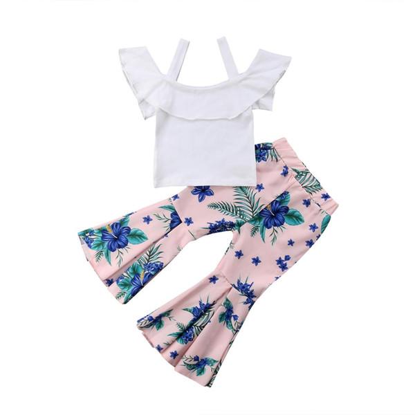 2018 Toddler Girls Strap Ruffle White Suspender Tops+Flared Pink Pants Leggings 2PCS Outfits Set Summer Fashion