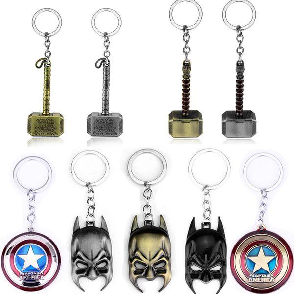 Marvel Avengers Thor's Hammer Mjolnir Keychain Captain America Shield Hulk Batman Mask KeyChain Key Rings Car Key Accessories