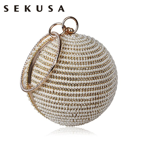 SEKUSA Beaded Women Evening Bag Metal Diamonds Purse Small Day Clutch Chain Shoulder Crystal Handbags For Party Wedding D18110106
