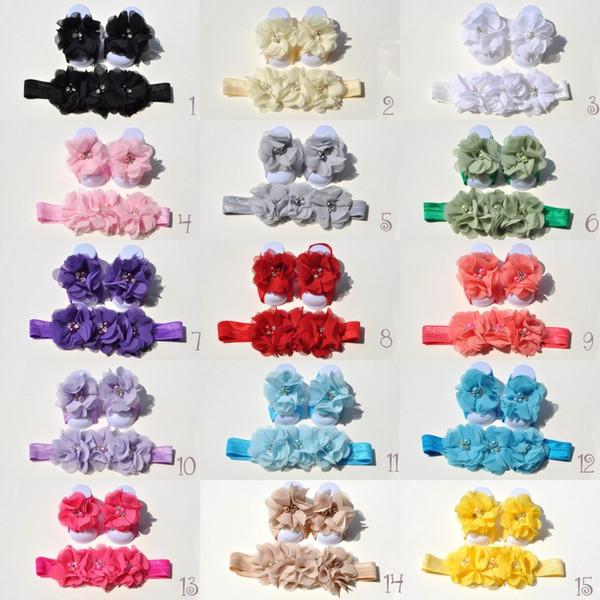 15 Colors Chiffon Flower Baby Barefoot Sandal Headband Set for Summer Pre-Walker Infant Toddler Newborn Baby Shower Gift