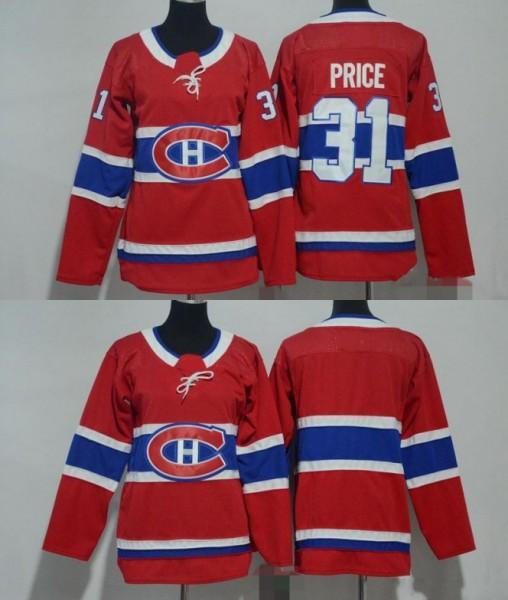 2018 Hombres Mujeres Jóvenes Niños Montreal Canadiens 31 Carey Price Blank Red Jerseys Todo Stiched Hockey Jersey Boy Girls