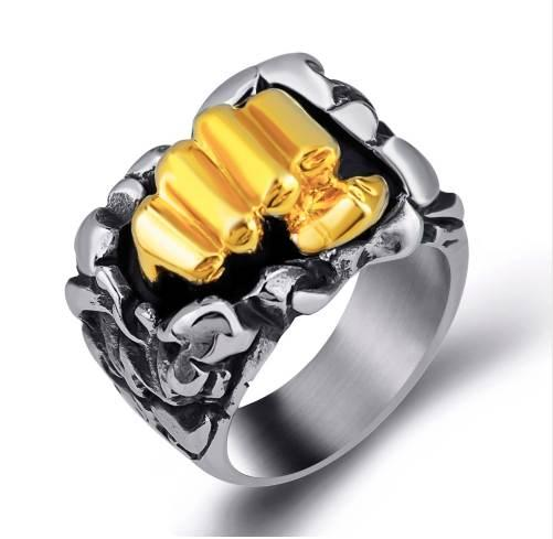 Elfasio Mens Boys Design Sense Power Silver Gold Fist Hip hop Stainless Steel Ring Jewelry Size 8-13