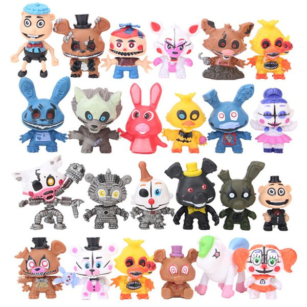 Free DHL 24 Pcs/Set Five Nights At Freddys Freddy toys 5-7cm Bonnie Foxy Fazbear Bear PVC Action Figures Party Gift B001