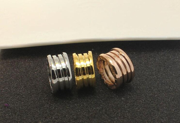 New fashion versatile titanium steel plated 18k rose gold ring three ring five circle arc spring hipster ring