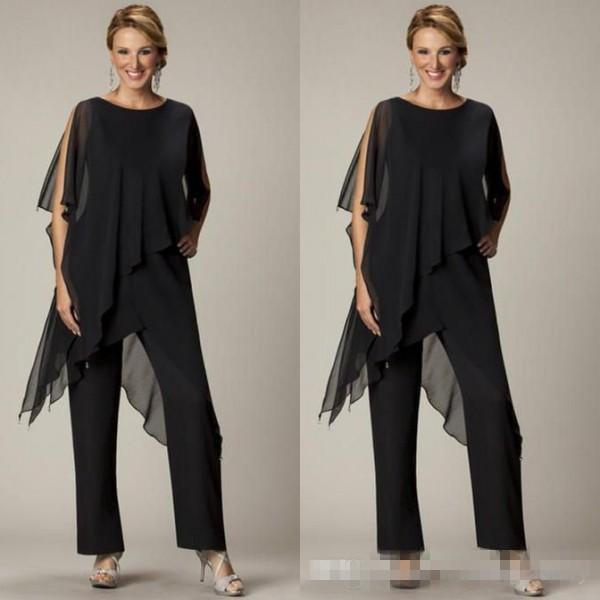 2018 Cheap Mother of the Bride Pant Sutis Black Chiffon Bateau Neck Asymmetrical Wrap Style Modest Mother's Suit for Weddings Custom Made