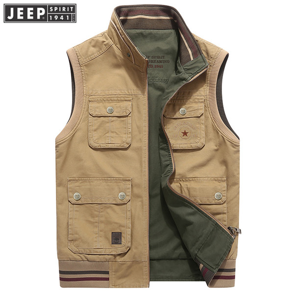 Reversible Mens Vest Multi-Pocket Vest Sleeveless Jacket Colete Masculino Plus Size Cotton Travel Journalist Waistcoat Coat